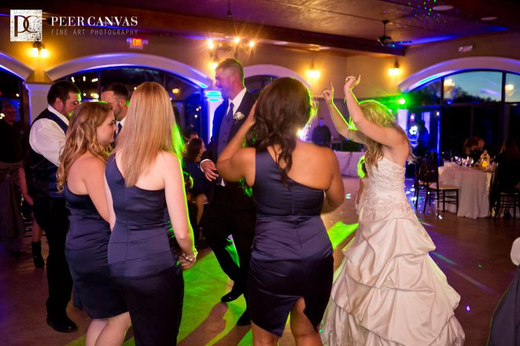 Dancing to music at wedding